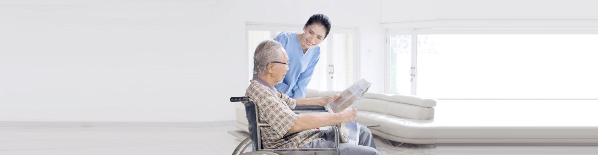 old man and lady nurse talking